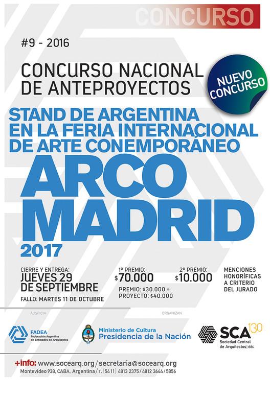 Concurso Nacional de anteproyectos: Stand de Argentina en la feria internacional de arte contemporáneo ARCOMadrid 2017, vía Sociedad Central de Arquitectos - SCA