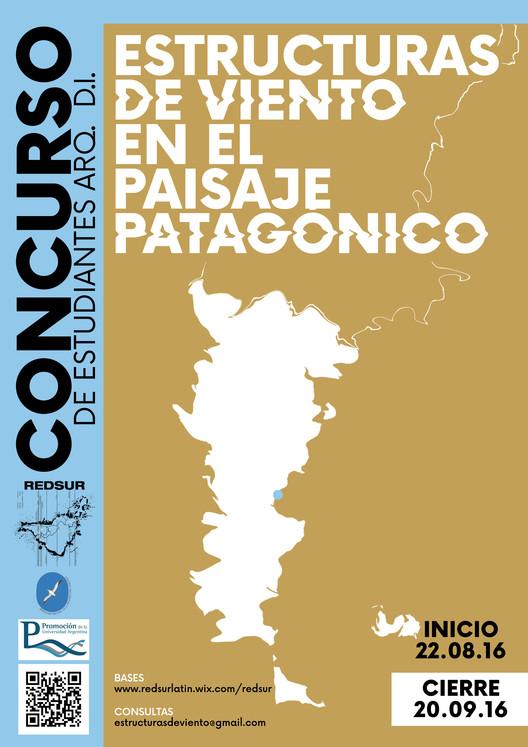 Concurso de ideas: estructuras de viento en el paisaje patagónico, REDSUR. Afiche Arq.Lucía Barrado- Arq. Juliana Sanchez Juez