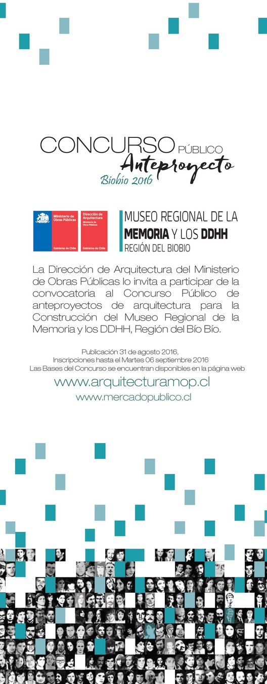 Concurso Anteproyecto 'Construcción Museo Regional de la Memoria y los DDHH' / Región del Biobio, Chile, Afiche creado en DRA VIII