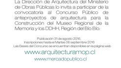 Concurso Anteproyecto 'Construcción Museo Regional de la Memoria y los DDHH' / Región del Biobio, Chile