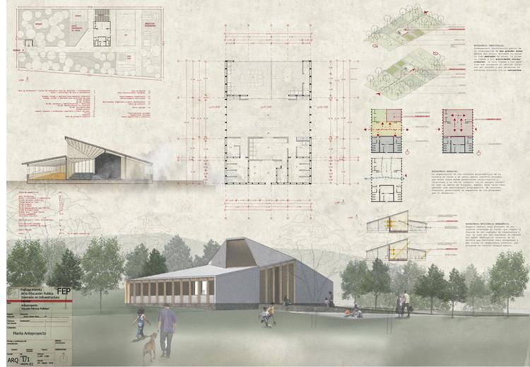 Conoce los diseños ganadores para reponer ocho escuelas rurales al sur de Chile, Escuela Paillaleo en Los Sauces / Rodrigo Duque Motta + MAPA.a. Image Cortesía de MINEDUC