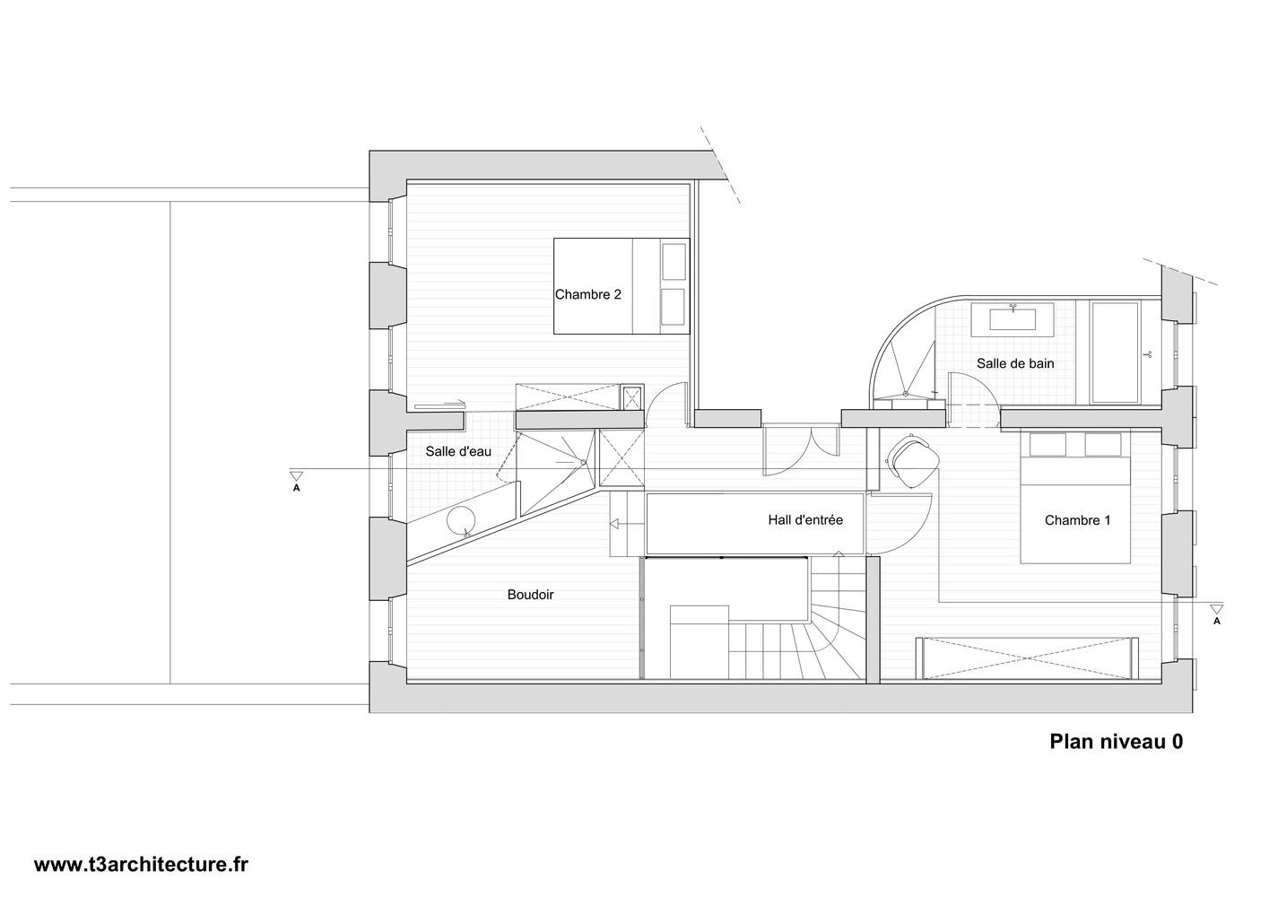 Plan maison t3 fabulous n t villa du parc with plan - Appartement en duplex abraham architects ...
