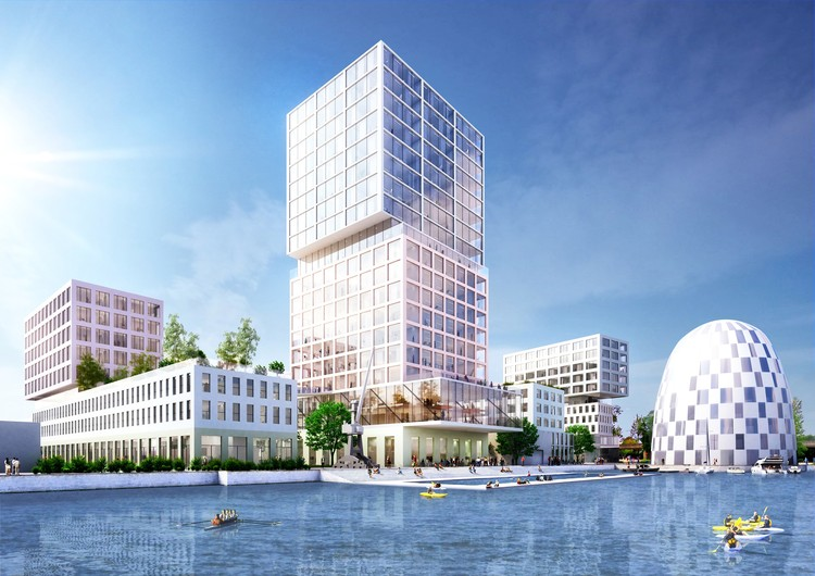MVRDV Wins Competition to Masterplan New Innovation Port in Hamburg, MVRD's masterplan foresees the development of a vast site of which hotels, conference halls, offices and start-ups, laboratories, research facilities and parking will occupy the site.. Image Courtesy of MVRDV
