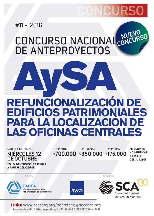 Concurso Nacional de Anteproyectos: Refuncionalización de edificios patrimoniales para localización de oficinas centrales de AySA en Argentina, vía SCA - Sociedad Central de Arquitectos