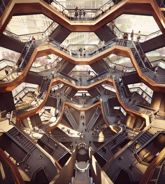 "Heatherwick Studio's ""Vessel"" Will Take the Form of an Endless Stairway at New York's Hudson Yards, Interior View of the Vessel. Image Courtesy of Forbes Massie-Heatherwick Studio"