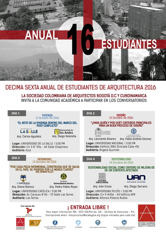 Conversatorios XVI Anual de Estudianrtes de Arquitectura, ! Todas las facultades de Arquitectura de Bogotá asistirán ¡