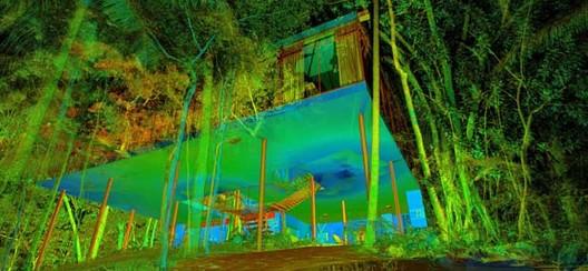 Escaneamento a laser é usado no restauro da Casa de Vidro, Casa de Vidro de Lina Bo Bardi, vista através do escaneamento a laser