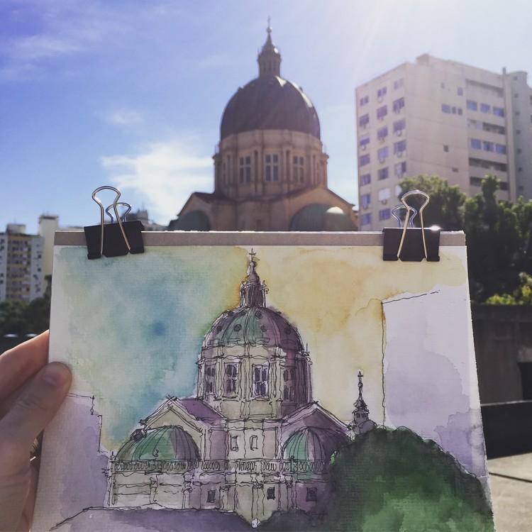Exposição Urban Sketching, Catedral Metropolitana de Porto Alegre - Crédito: Daniel Dillenburg