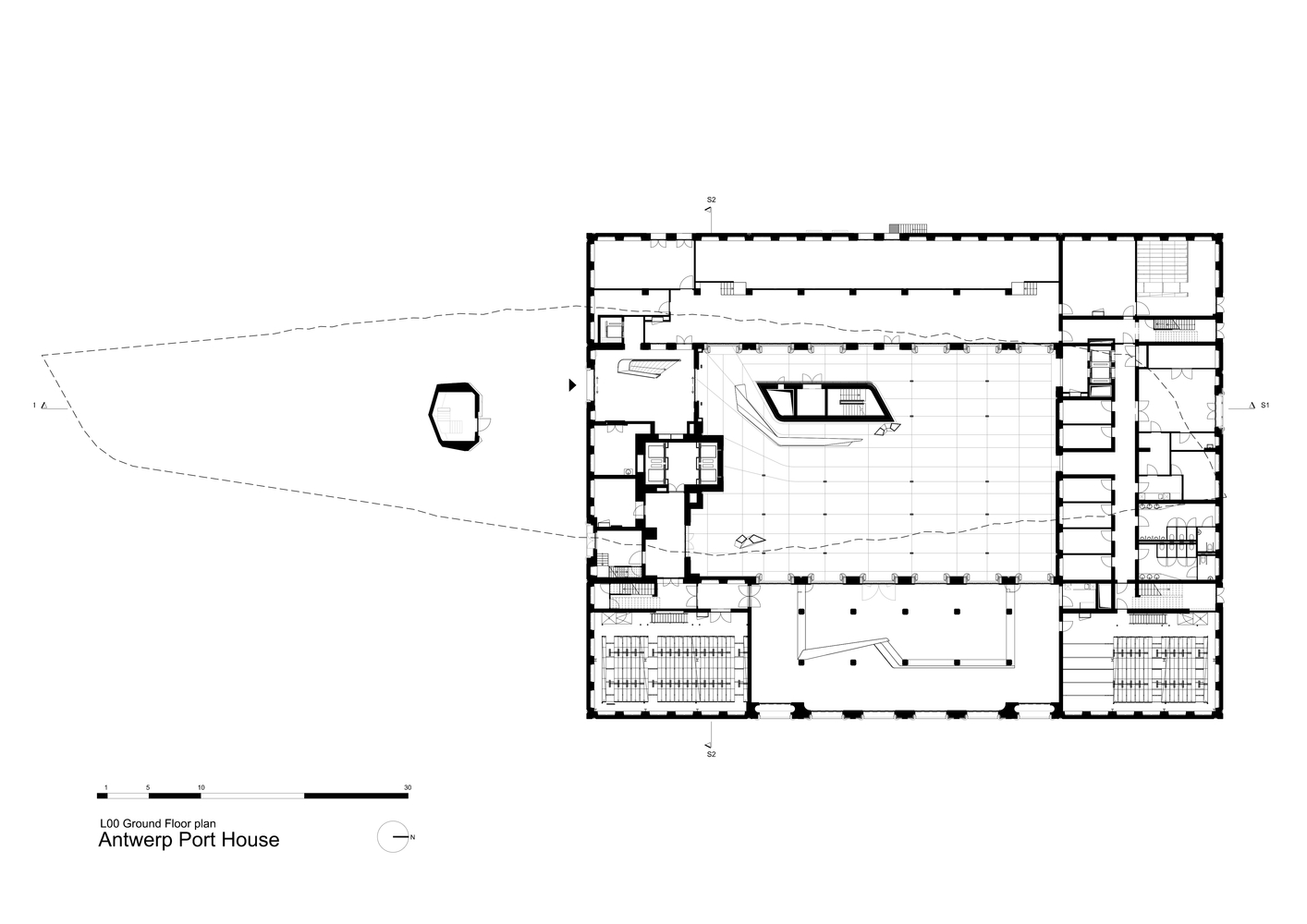 Gallery of antwerp port house zaha hadid architects 29 antwerp port houselevel 0 floor plan pooptronica Image collections