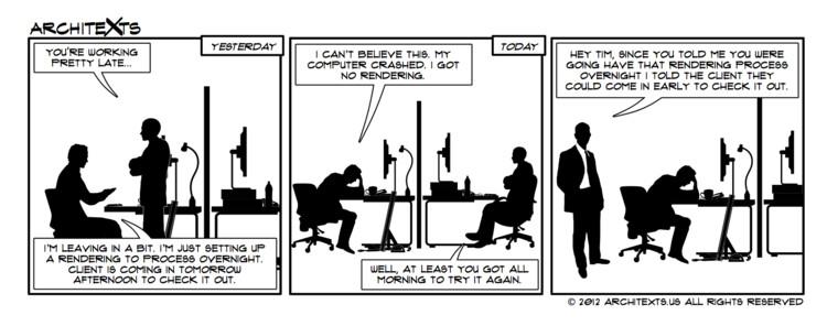 "Comic Break: ""Overnight Renderings"", © Architexts"