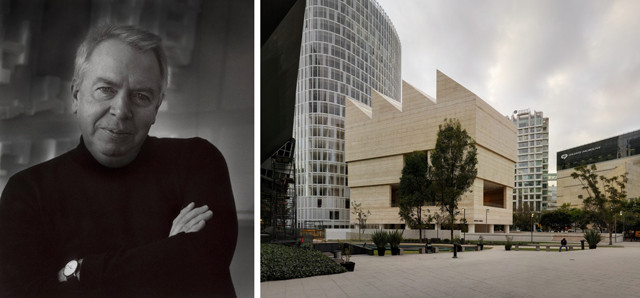 10th Annual Arhtur Rosenblatt Memorial Lecture: David Chipperfield, David Chipperfield (Photo: Ingrid von Cruse), left; Museo Jumex, Mexico City, right