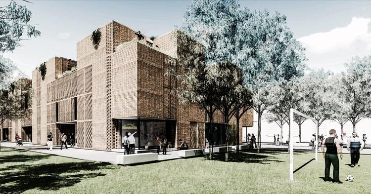 Mención honorífica Concurso de anteproyectos para la relocalización de viviendas en el Riachuelo - Barrio Orma / Buenos Aires, Cortesía de Gonzalo Perrote