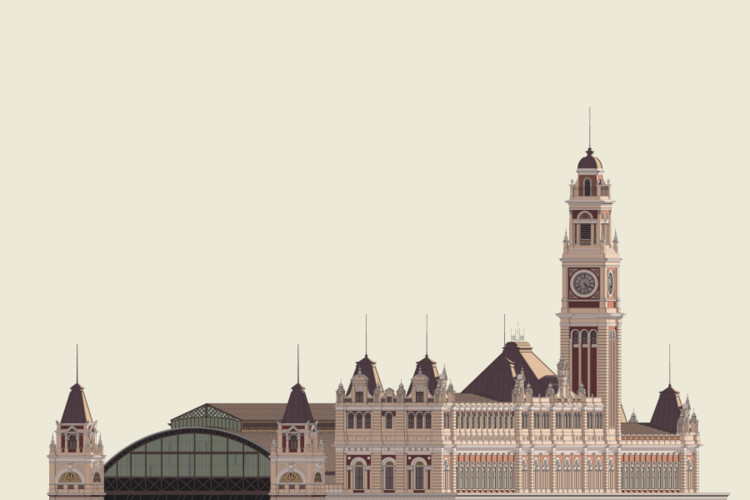 Detailed, Colorful Elevation Drawings of Historic Brazillian Buildings Illustrated in CAD, Luz Station, São Paulo. Image © Zema Vieira