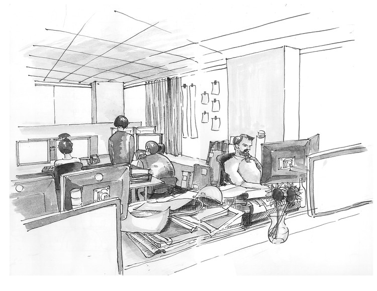 Drawing Lines In Office : Sketches drawings and diagrams of desks