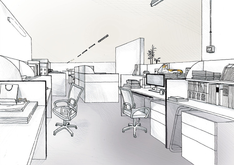 42 sketches drawings and diagrams of desks and for Office design dwg