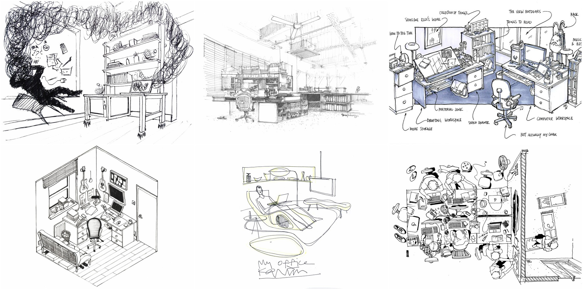 42 Sketches, Drawings and Diagrams of Desks and