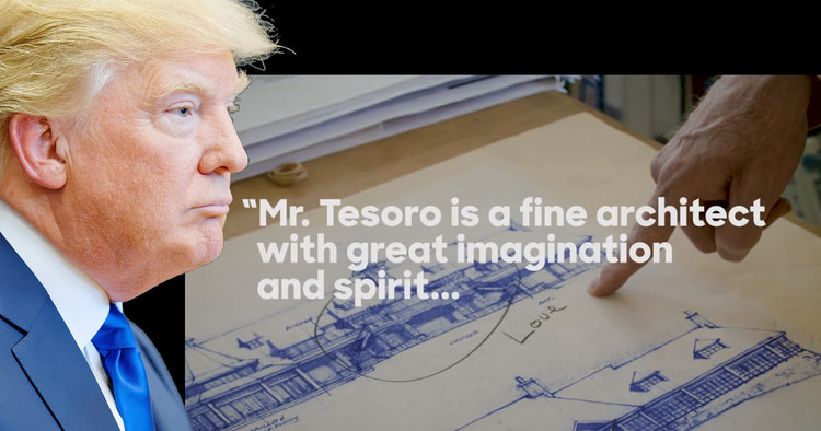Here's What Architect Andrew Tesoro Really Thinks of Donald Trump, Image of Donald Trump © <a href='https://www.flickr.com/photos/80038275@N00/20548281849/sizes/h/'> Flickr user Michael Vadon</a> licensed under <a href='https://creativecommons.org/licenses/by-sa/2.0/'>CC BY-SA 2.0</a>. Inset via screenshot from Hillary for America campaign video