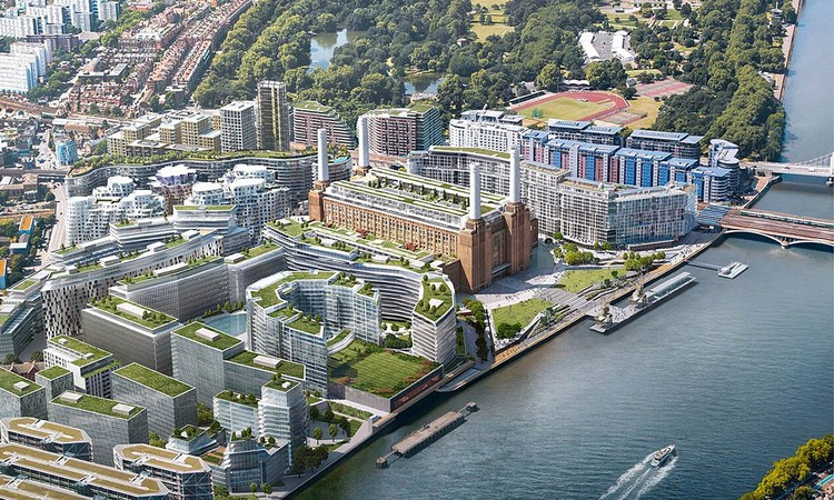 Apple To Create New London Campus at Battersea Power Station, Visualization of the Battersea development, with the Grade II* Listed former power station at its heart. Image Courtesy of Battersea Power Station Development