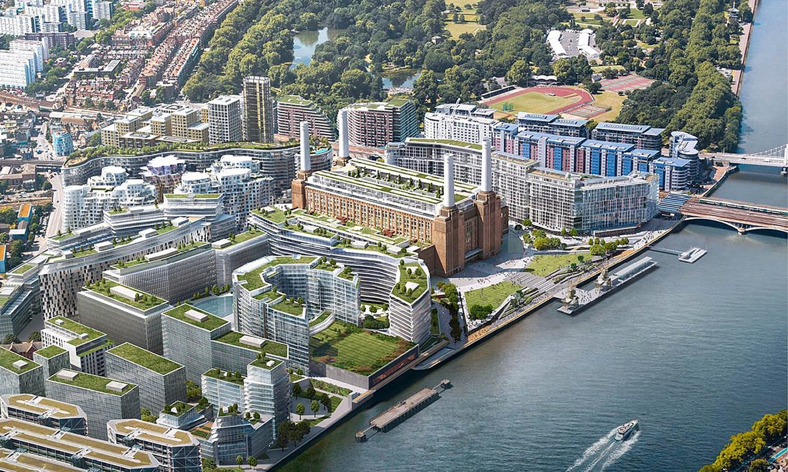 Apple creará nuevo campus de Londres en la antigua central eléctrica Battersea,Visualization of the Battersea development, with the Grade II* Listed former power station at its heart. Image Cortesía de Battersea Power Station Development