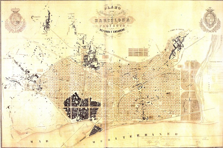 "How Barcelona's ""Superblocks"" Pedestrian Plan Hopes to Return the Streets to the People, Ildefons Cerdà i Sunyer's 1859 urban plan for Barcelona. Image via Wikimedia Commons under public domain (original source: Museu d'Historia de la Ciutat, Barcelona)"