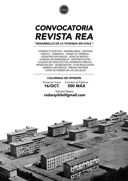 """Convocatoria Revista REA: """"Desarrollo de la vivienda en Chile"""", Red Estudiantes de Arquitectura"""