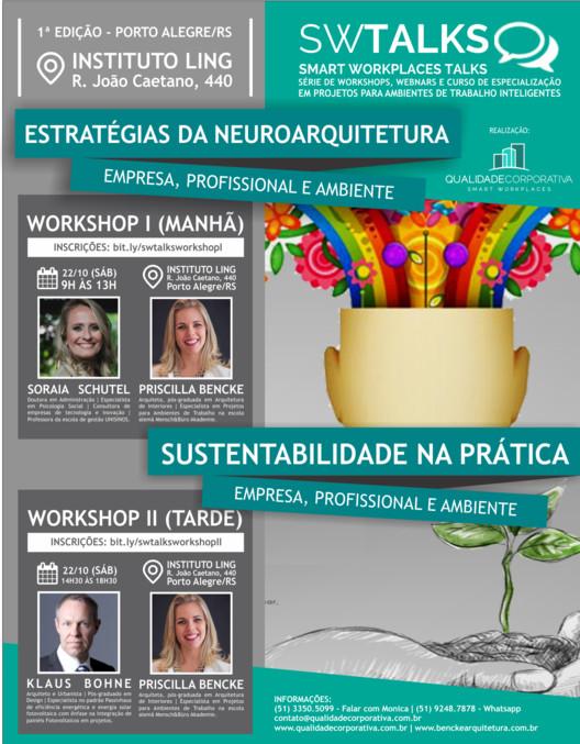 Workshops sobre neuroarquitetura e sustentabilidade prática para ambientes corporativos, Workshops que serão realizados no dia 22/10