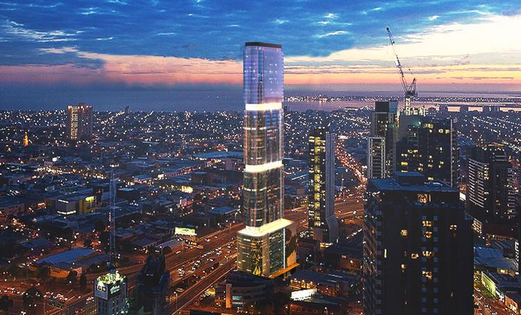 Torre de 60 pisos maximiza la captación de energía fotovoltaica a través de su fachada, Cortesía de Peddle Thorp Architects