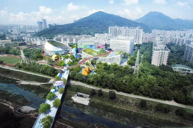 MVRDV + Zhubo Studio Win Competition for New Sports and Cultural Center in Shenzhen, Located in a residential area which stretches from the Nanshan mountain park to the Yangtai mountain park, the experience centre connects nature, sports and culture to serving wide-ranging age groups and interests.. Image © MVRDV