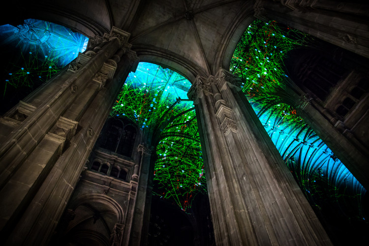 Artist Miguel Chevalier Projects Imaginary Starscapes onto the Ceiling of a Gothic Cathedral in Paris, Screenshot of Voûtes Célestes