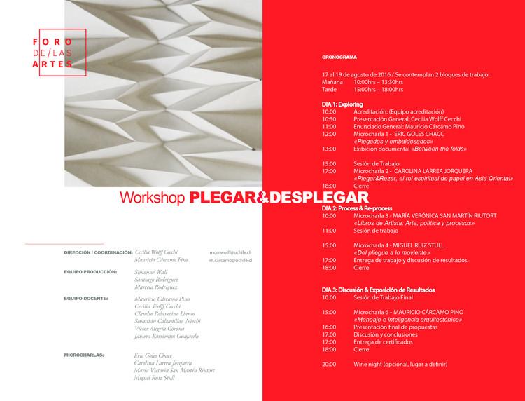 Workshop PLEGAR&DESPLEGAR, Equipo Organizador Foro de las Artes 2016/ Workshop PLEGAR&DESPLEGAR