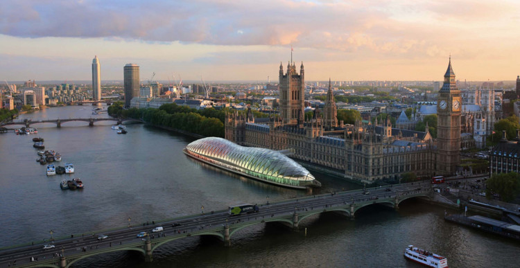 Project Poseidon: Gensler's Radical Proposal for a Temporary (Floating) UK Parliament, Gensler have proposed a temporary UK Parliament structure. Image © Gensler