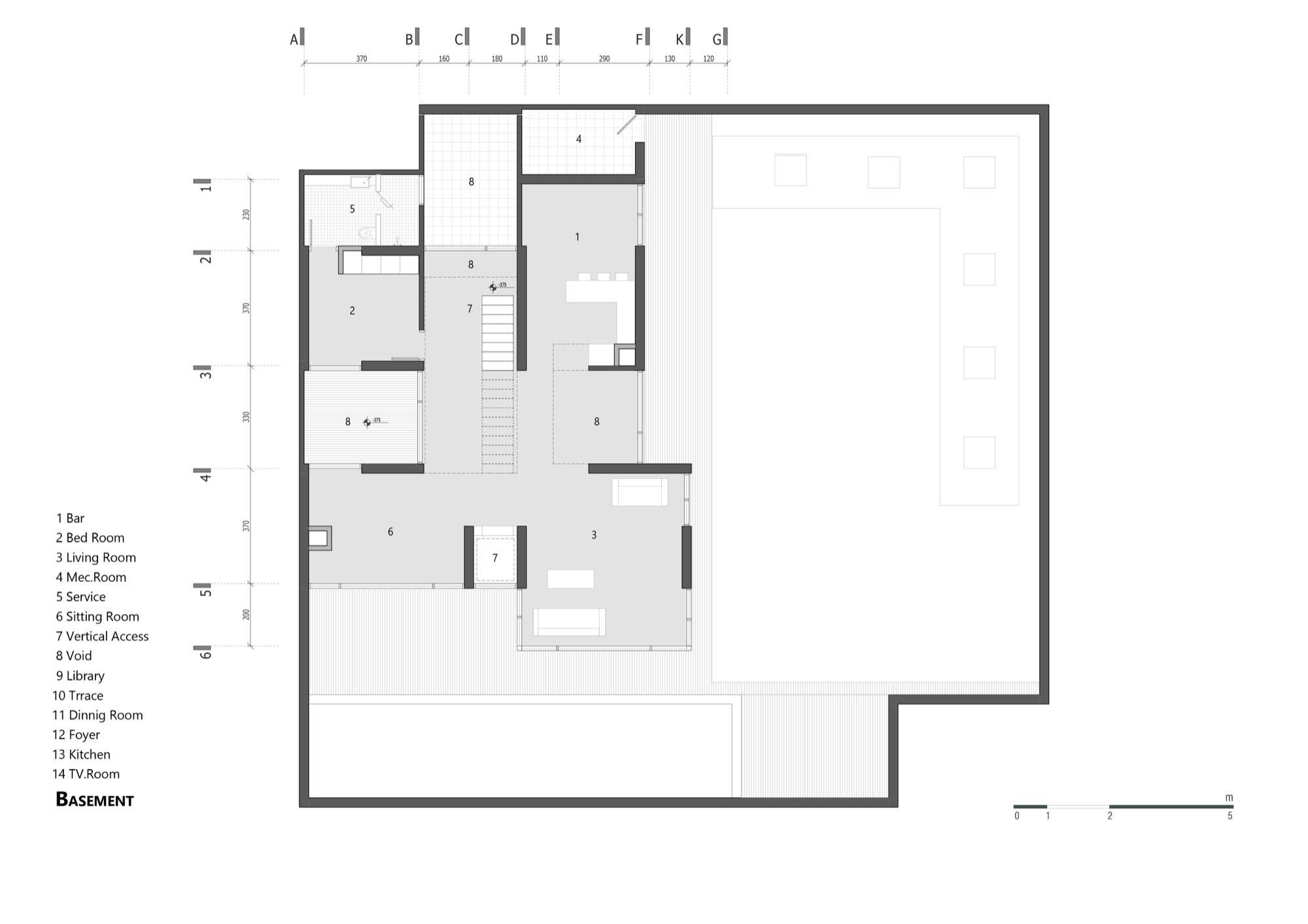 Gallery of villa 131 bracket design studio 14 for Basement remodel floor plans