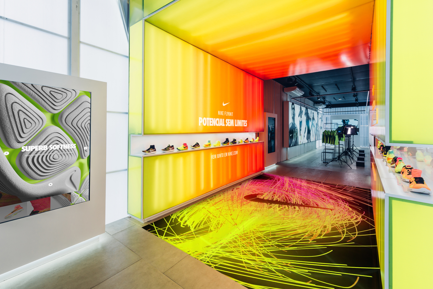 fe8d6b2ed4ea GTM Cenografia Uses Shipping Containers in Rio Olympic Pop-up Store for Nike.  Courtesy of Nike