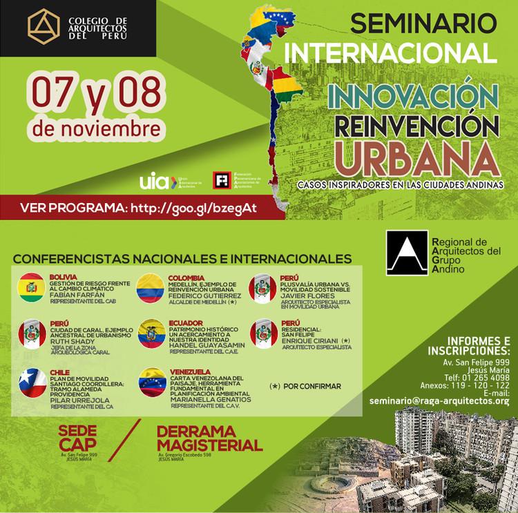Seminario Internacional Innovación y Reinvención Urbana - Casos Inspiradores en las ciudades andinas / Sede CAP, Cortesía de Área de eventos y auspicios CAP Nacional