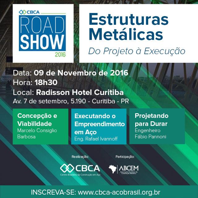 CBCA leva Road Show a Curitiba., Programação do Road Show CBCA em Curitiba. Fonte:CBCA