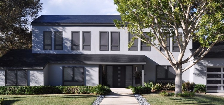 "Tesla Unveils Fully-Integrated Solar Roof System, ""Smooth"" Style. Image © Tesla. Via the Verge"