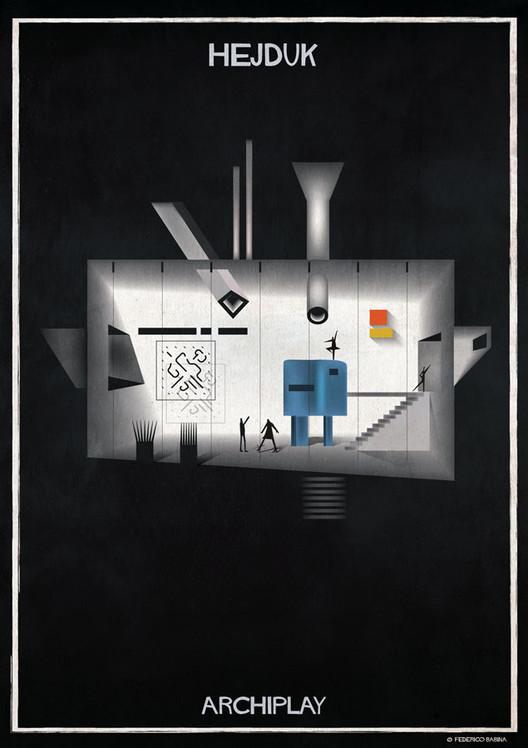 Las ilustraciones ARCHIPLAY de Federico Babina imaginan escenografías diseñadas por renombrados arquitectos