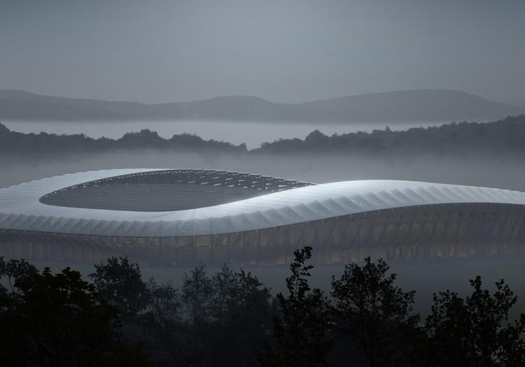 Zaha Hadid Architects diseñará estadio construido en madera para equipo de fútbol inglés, Exterior Rendering. Image © VA. Courtesy of Zaha Hadid Architects
