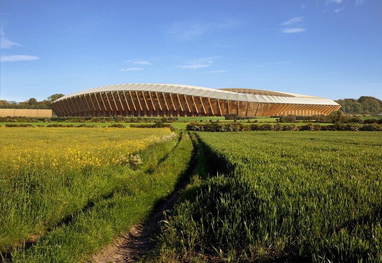 Zaha Hadid Architects' Competition-Winning Design for Forest Green Rovers Will Be World's First All-Wood Stadium, Exterior Rendering. Image © VA. Courtesy of Zaha Hadid Architects