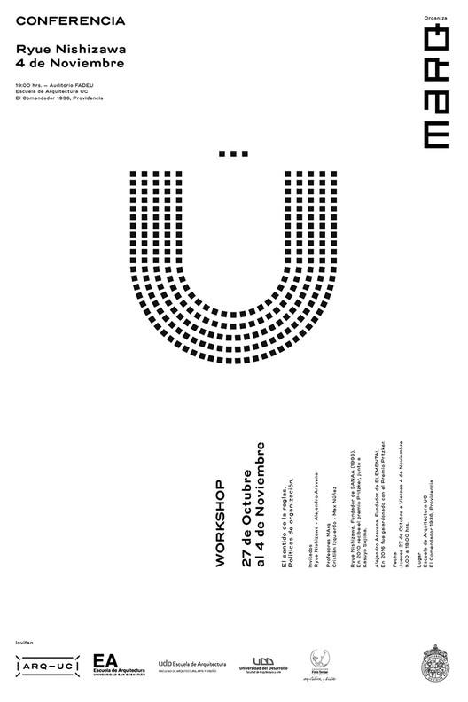 Conferencia de Ryue Nishizawa en FADEU / Santiago, Afiche diseñado por Trinidad Sanchez