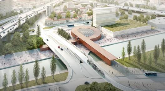 © BIG - Silvio d'Ascia - Société du Grand Paris / Gare Pont de Bondy, (line 15 East) par BIG et Silvio d'Ascia