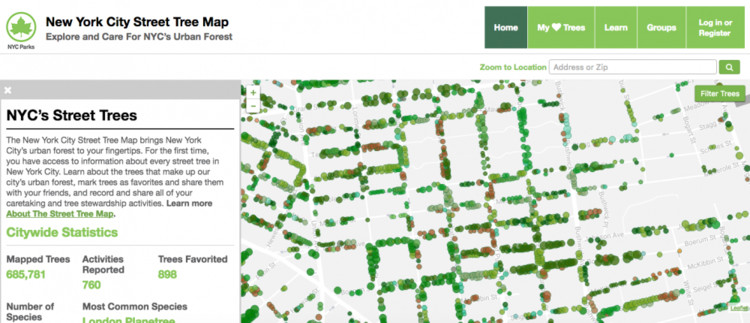 New York City Mapped All of its Trees and Calculated the Economic Benefits of Every Single One, via  NYC Parks