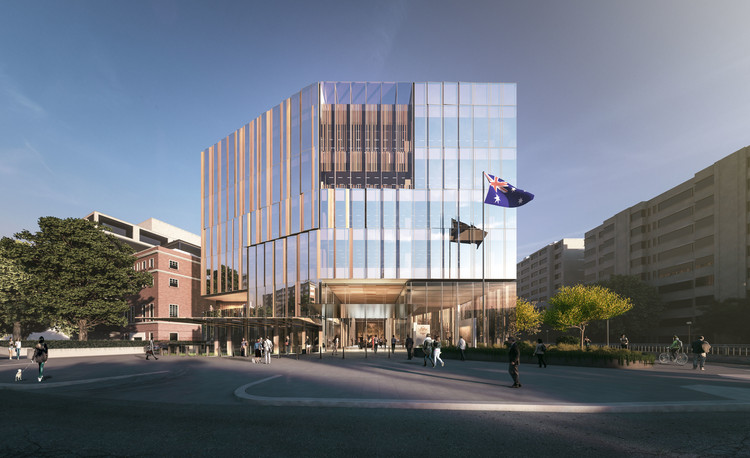 Designs Unveiled for New Australian Embassy in Washington DC, Morning View North of Entrance from Massachusetts Ave. Image Courtesy of Bates Smart