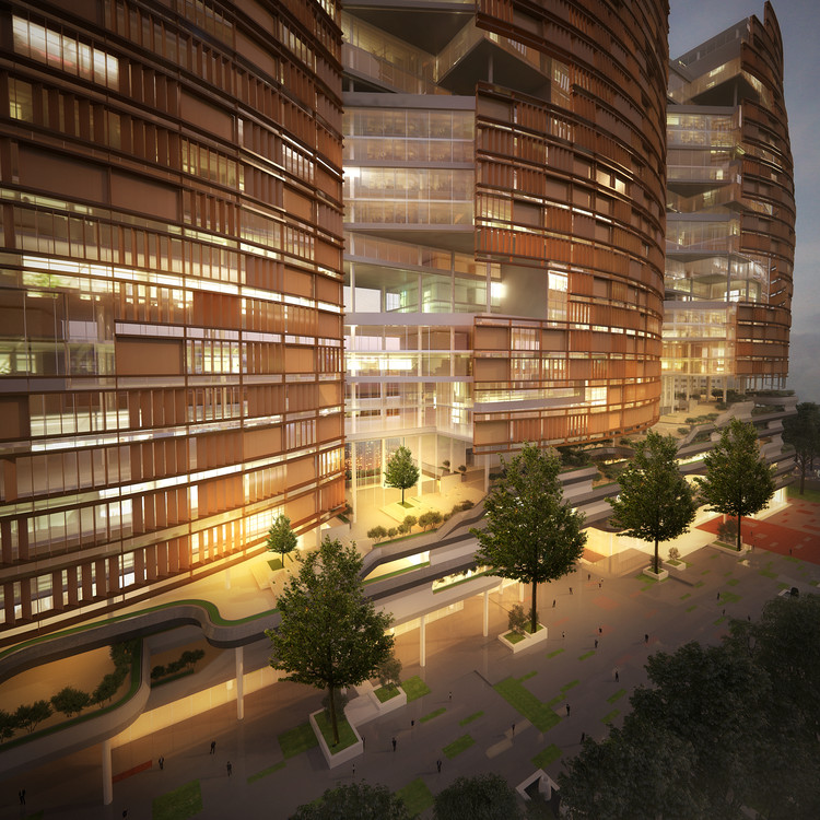 CnT Architects Provide Two Options for Design of Aurobindo Pharma Towers in India, Courtesy of CnT Architects