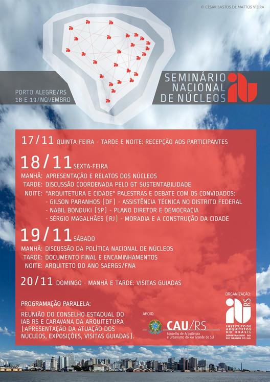 Seminário Nacional de Núcleos do Instituto de Arquitetos do Brasil, Seminário Nacional de Núcleos acontecerá nos dias 18 e 19 de novembro em Porto Alegre. Crédito: Divulgação