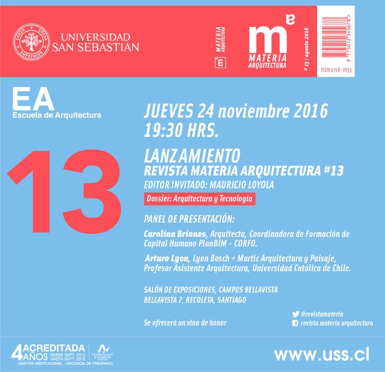 Lanzamiento Revista Materia Arquitectura #13, Cortesía de Unknown