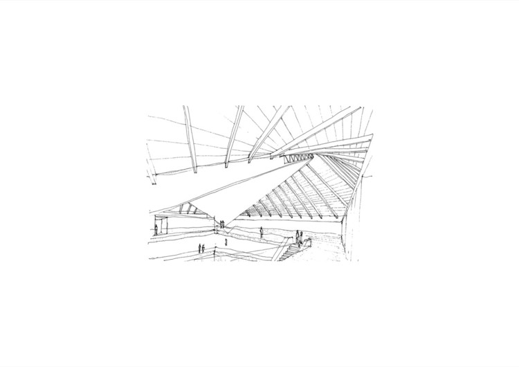 Study John Pawson's Interiors of the New London Design Museum, Pawson's sketch of the new London Design Museum
