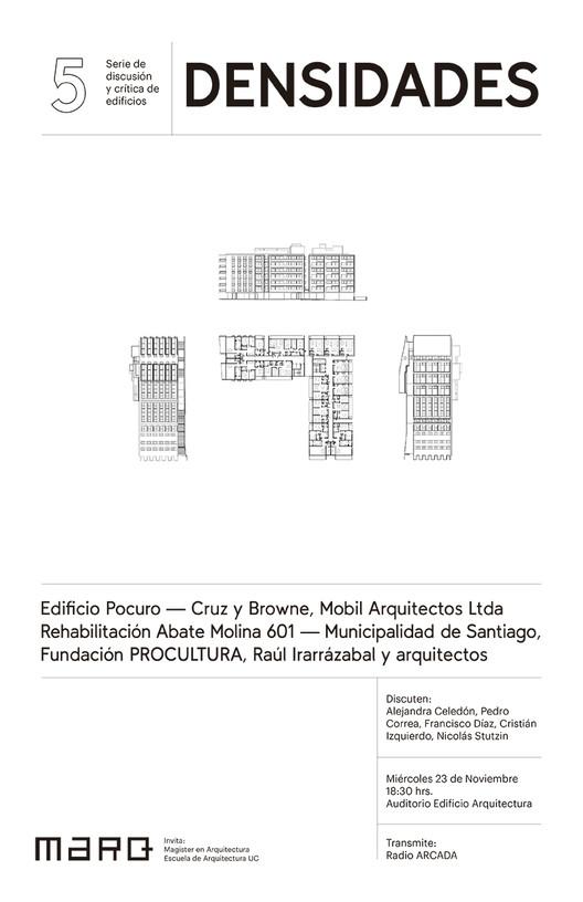Serie Discusión y Crítica de Edificios | Densidades, Afiche diseñado por agustina Labarca