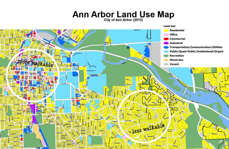 5 fatores que tornam os bairros caminháveis, © Tecido urbano quadriculado. Fonte: Mapa da cidade de Ann Harbour com intervenção de Liz Treutel