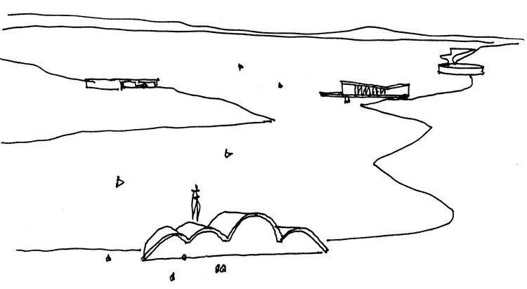 Como a Pampulha se tornou Patrimônio Cultural da Humanidade, Croqui do Conjunto da Pampulha, feito por Oscar Niemeyer. Via CAU/BR